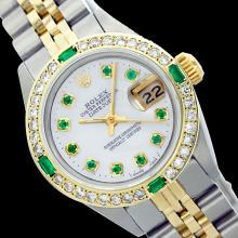Rolex Ladies Two Tone 14K Gold/SS, Diam/Emerald Dial & Diam/Emerald Bezel, Sapphire Crystal - REF-440T5K