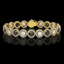 13.96 CTW Black & White Diamond Designer Bracelet 18K Yellow Gold - REF-1428T2M - 42610