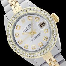 Rolex Ladies Two Tone 14K Gold/SS, Diamond Dial & Diamond Bezel, Sapphire Crystal - REF-434W4H