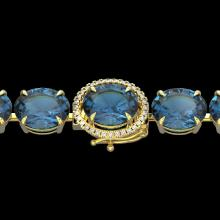 79 CTW London Blue Topaz & Micro VS/SI Diamond Halo Bracelet 14K Yellow Gold - REF-272Y2K - 22267