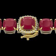 46 CTW Ruby & Micro Pave VS/SI Diamond Halo Designer Bracelet 14K Yellow Gold - REF-254W5F - 23323