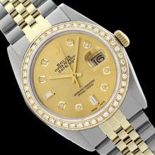 Rolex Ladies Two Tone 14K Gold/SS , Diamond Dial & Diamond Bezel, Sapphire Crystal - REF-440Y6X