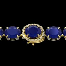 76 CTW Sapphire & Micro Pave VS/SI Diamond Halo Bracelet 14K Yellow Gold - REF-317Y3K - 22278