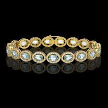 11.02 CTW Aquamarine & Diamond Halo Bracelet 10K Yellow Gold - REF-258Y8K - 40477