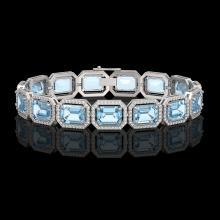 36.81 CTW Aquamarine & Diamond Halo Bracelet 10K White Gold - REF-600F4N - 41546