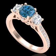 1.67 CTW Intense Blue Diamond Solitaire Art Deco 3 Stone Ring 18K Gold - 37811-REF-200X2H