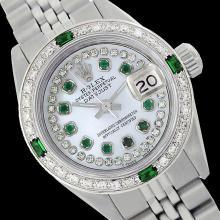 Rolex Ladies Stainless Steel, Diam/Emerald Dial & Diam/Emerald Bezel, Sapphire Crystal - REF-434M3F