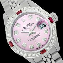 Rolex Ladies Stainless Steel, Diam Dial & Diam/Ruby Bezel, Sapphire Crystal - REF-426X2Y