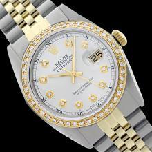Rolex Ladies Two Tone 14K Gold/SS, Diamond Dial & Diamond Bezel, Sapphire Crystal - REF-434X6Y
