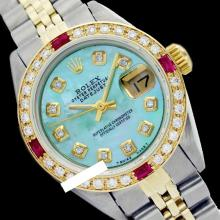 Rolex Ladies Two Tone 14K Gold/SS, Diam Dial & Diam/Ruby Bezel, Sapphire Crystal - REF-440N7A