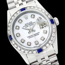 Rolex Ladies Stainless Steel, Diam Dial & Diam/Sapphire Bezel, Sapphire Crystal - REF-426K6T