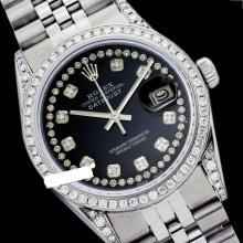 Rolex Men's Stainless Steel, QuickSet, Diamond Dial & Diamond Bezel - REF#485M5K