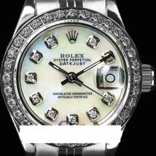 Rolex Men's Stainless Steel, QuickSet, Diamond Dial & Diamond Bezel - REF#458G2R