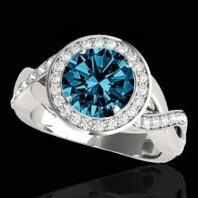 2 CTW Si Certified Fancy Blue Diamond Bridal Solitaire Halo Ring Gold - 33281-REF-241K5W