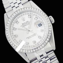 Rolex Men's Stainless Steel, QuickSet, Diamond Dial & Diamond Bezel - REF#425K5A
