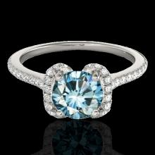 1.33 CTW Si Certified Fancy Blue Diamond Solitaire Halo Ring Gold - 33294-REF-163Z5K