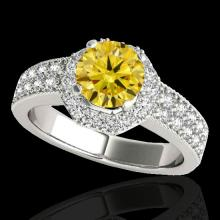 1.4 CTW Certified Si Fancy Intense Yellow Diamond Solitaire Halo Ring Gold - 34556-REF-172Z5K