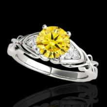 1.1 CTW Certified Si Fancy Yellow Diamond Solitaire Ring 2 Tone Gold - 35206-REF-161W8M