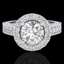2.25 CTW Vintage Solitaire VS/SI Diamond Halo Ring 14K Size 7 Gold - 21117-REF-372M2R