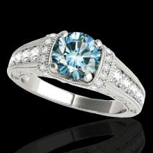 1.5 CTW Si Certified Fancy Blue Diamond Solitaire Antique Ring Gold - 34779-REF-180H2Z