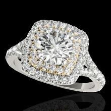 1.6 CTW G-Si Certified Diamond Solitaire Halo Ring Two Tone Gold - 33360-REF-180N2Y
