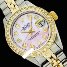 Rolex Men's 2Tone 14K Gold/ SS, QuickSet, Diamond Dial, Diam/Ruby Bezel - REF#458R2X