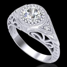 1.07 CTW VS/SI Diamond Art Deco Ring 18K White Gold - 36884-REF-321M2R