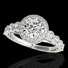 1.5 CTW G-Si Certified Diamond Bridal Solitaire Halo Ring Gold - 33598-REF-178H2Z