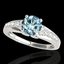 1.4 CTW Si Certified Fancy Blue Diamond Solitaire Bridal Ring Gold - 35001-REF-160N2Y