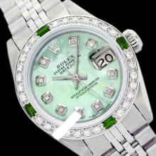 Rolex Men's Stainless Steel, QuickSet, Diam Dial & Diam/Emerald Bezel - REF#425R5X