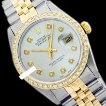 Rolex Men's 2Tone 14K Gold/ SS, QuickSet, Diamond Dial & Diamond Bezel - REF#458G2R