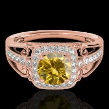 1.3 CTW Certified Si Fancy Intense Yellow Diamond Solitaire Halo Ring Gold - 33777-REF-165N6Y