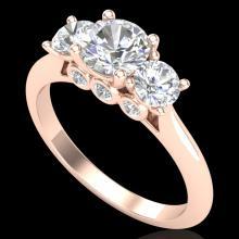 1.5 CTW VS/SI Diamond Solitaire Bridal Art Deco 3 Stone Ring 18K Gold - 37314-REF-272N7Y