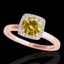 1.15 CTW Certified Si Fancy Intense Yellow Diamond Solitaire Halo Ring Gold - 33408-REF-163V5F
