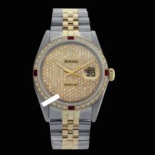Rolex Men's 2Tone 14K Gold/ SS, QuickSet, Diam Pave Dial & Diam/Ruby Bezel - REF#556Y4N