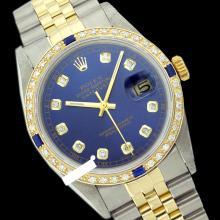 Rolex Men's 2Tone, QuickSet, Diam Dial & Diam/Sapphire Bezel - REF#458A2M