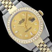 Rolex Ladies Two Tone 14K Gold/ss, Diamond Dial & Diamond Bezel, Saph Crystal - REF-368Y7X