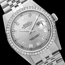Rolex Ladies Stainless Steel, Diamond Dial & Diamond Bezel, Saph Crystal - REF-355R6Z