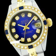 Rolex Ladies Two Tone 14K Gold/ss, Diam Dial & Diam/Sapphire Bezel, Saph Crystal - REF-368A7N