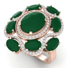 9.86 CTW Royalty Designer Emerald & VS Diamond Ring 18K Gold - REF-218A2N - 39292