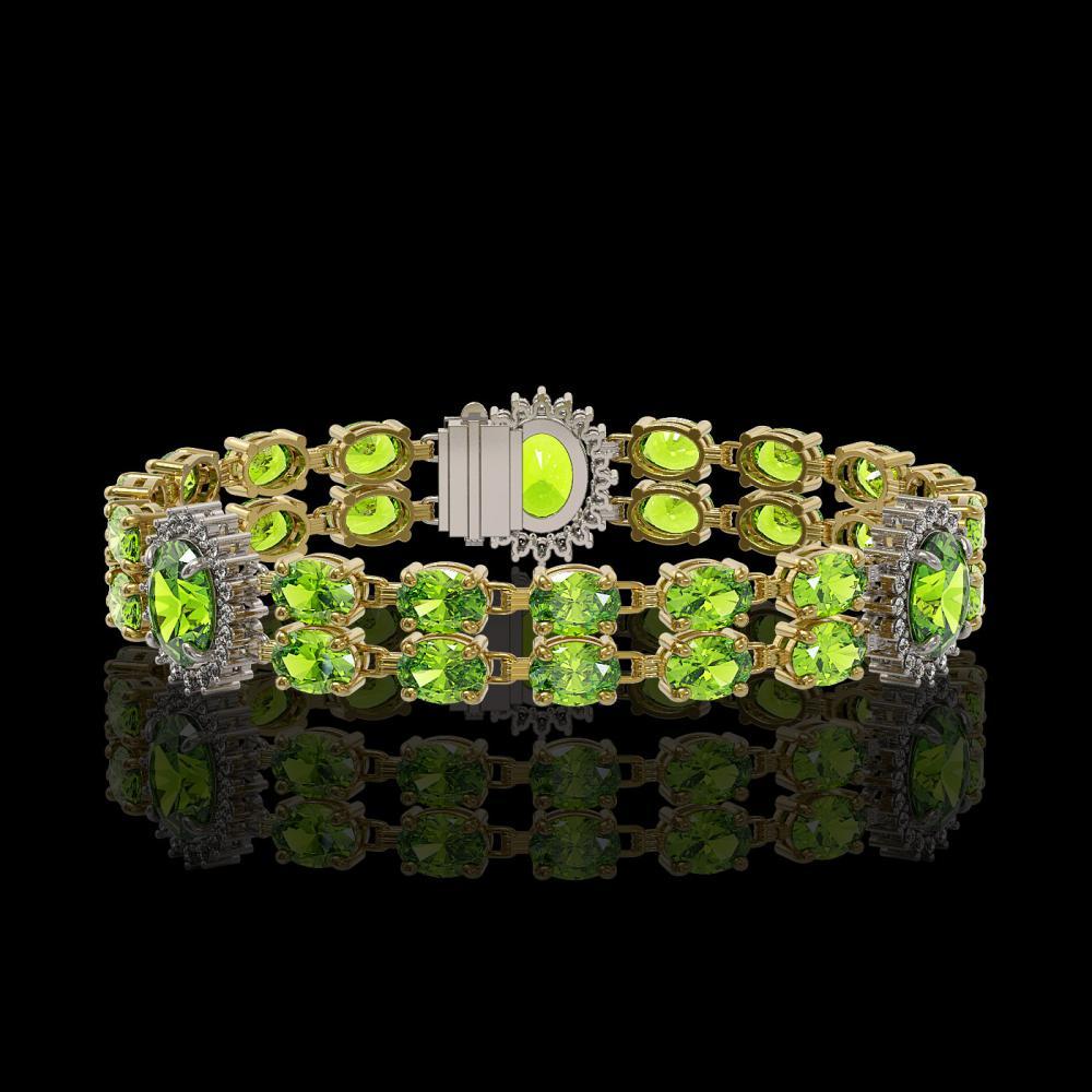 18.66 ctw Peridot & Diamond Bracelet 14K Yellow Gold - REF-180R8K - SKU:44254