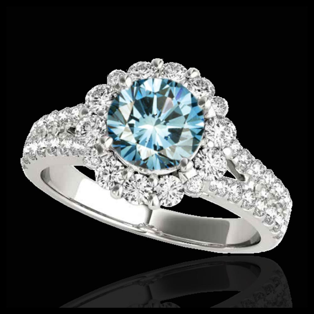 2.01 ctw SI Fancy Blue Diamond Halo Ring 10K White Gold - REF-156Y8X - SKU:33936