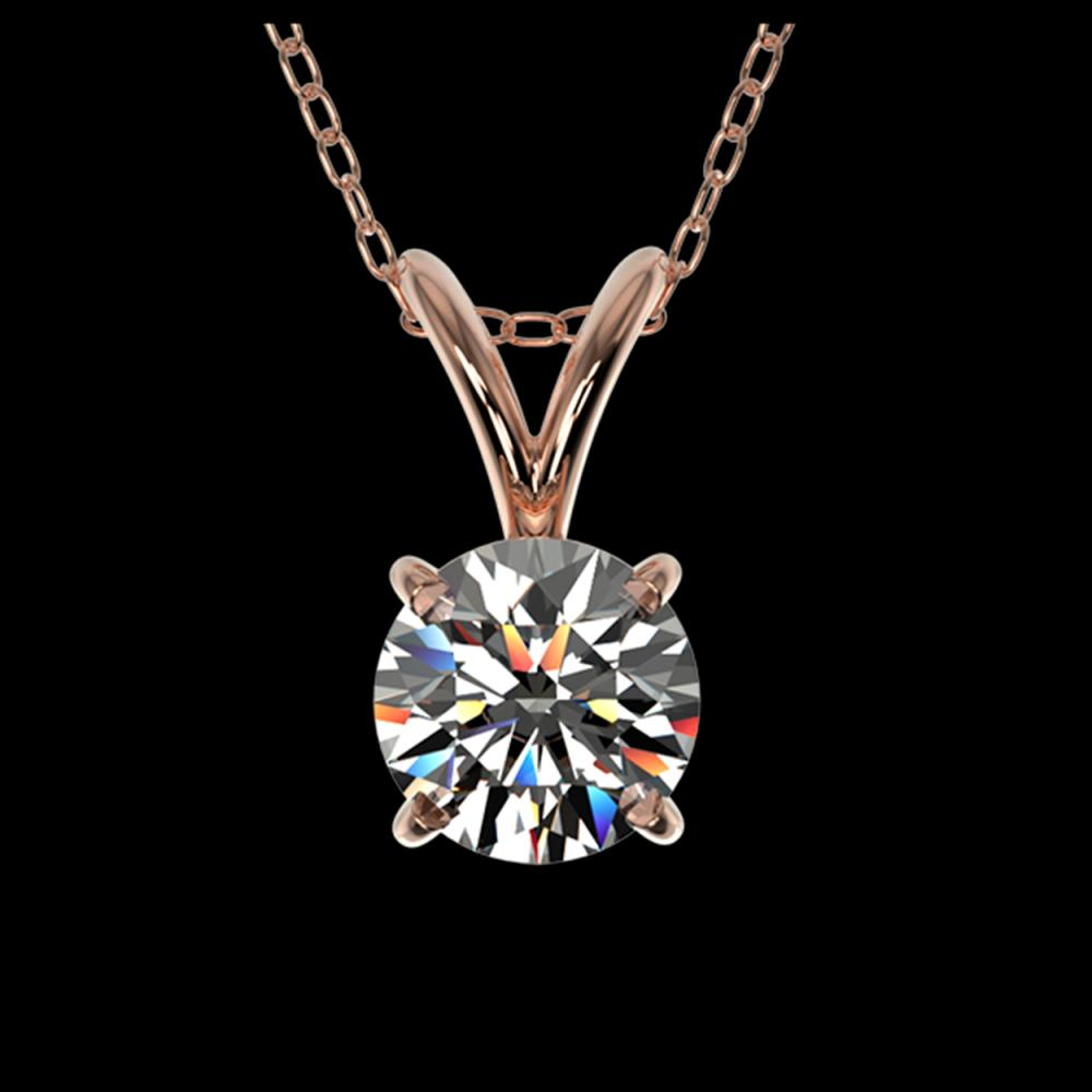 0.55 ctw H-SI/I Diamond Solitaire Necklace 10K Rose Gold - REF-58N5A - SKU:36724