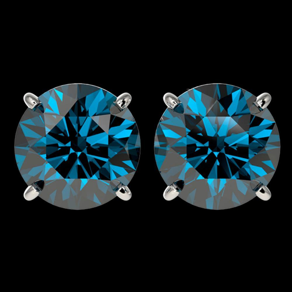 4 ctw Intense Blue Diamond Stud Earrings 10K White Gold - REF-679F9N - SKU:33137