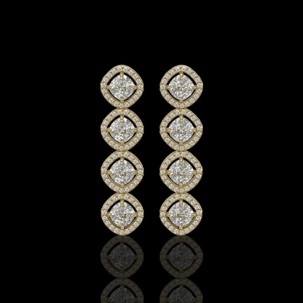 5.28 ctw Cushion Diamond Earrings 18K Yellow Gold - REF-736N2A - SKU:42811