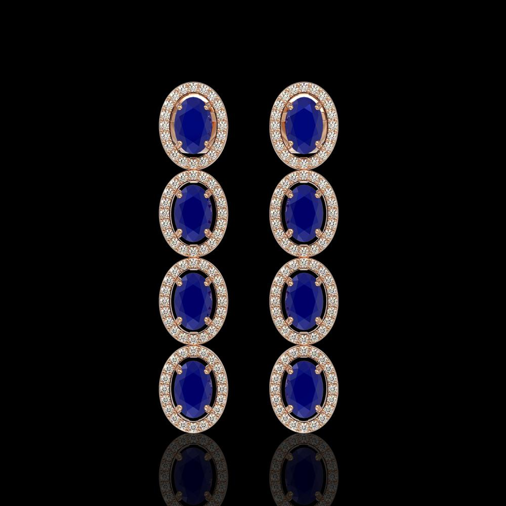6.47 ctw Sapphire & Diamond Halo Earrings 10K Rose Gold - REF-125M5F - SKU:40509