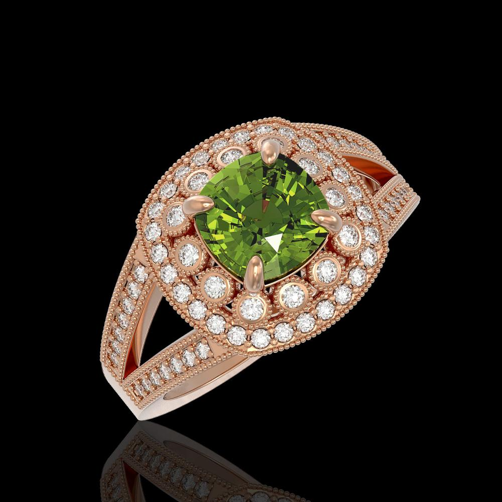 2.39 ctw Tourmaline & Diamond Ring 14K Rose Gold - REF-106H5M - SKU:44043