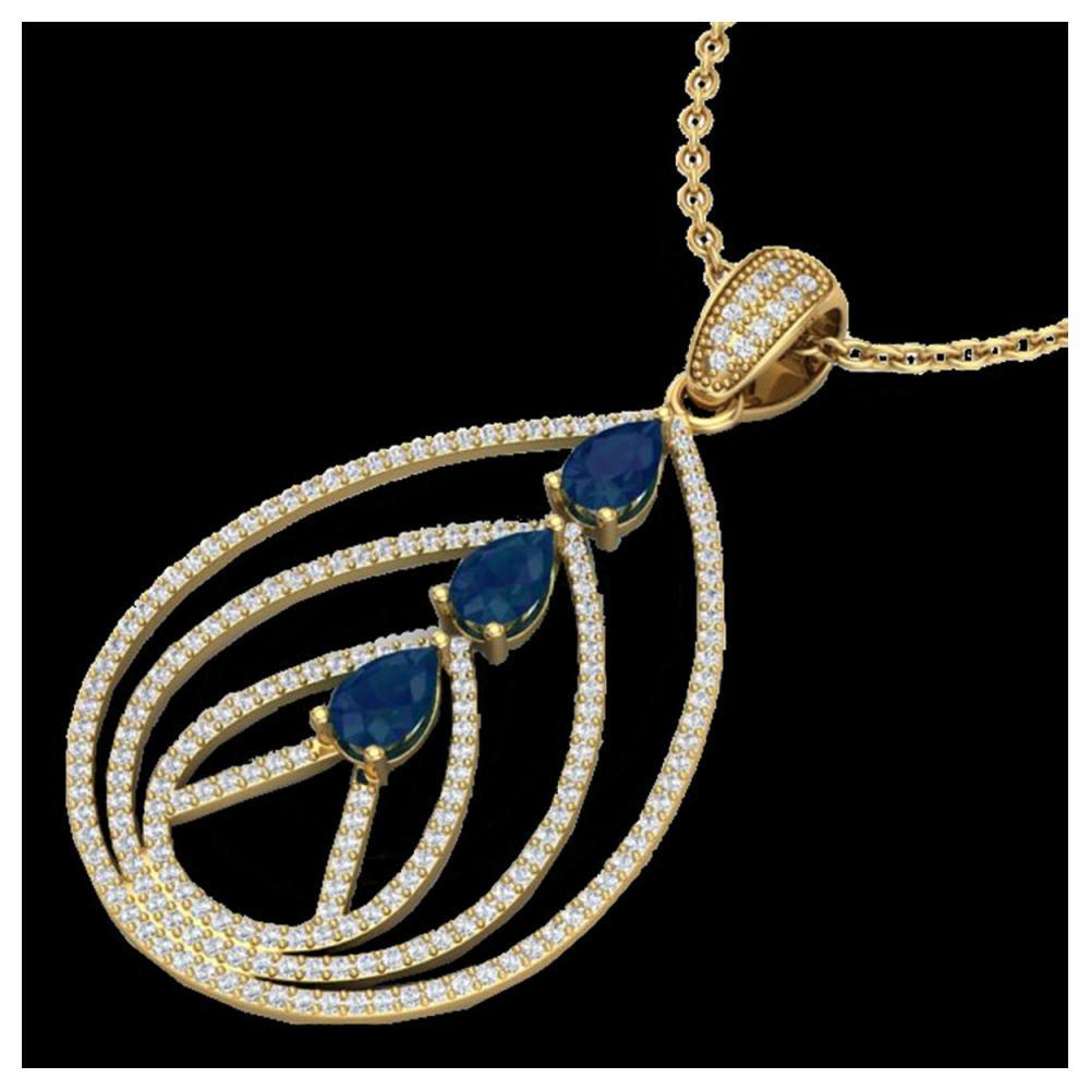 2 ctw Sapphire & VS/SI Diamond Necklace 18K Yellow Gold - REF-133N3A - SKU:22472