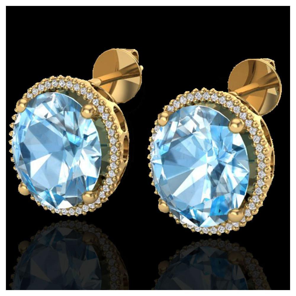 25 ctw Sky Blue Topaz & VS/SI Diamond Earrings 18K Yellow Gold - REF-125N6A - SKU:20266