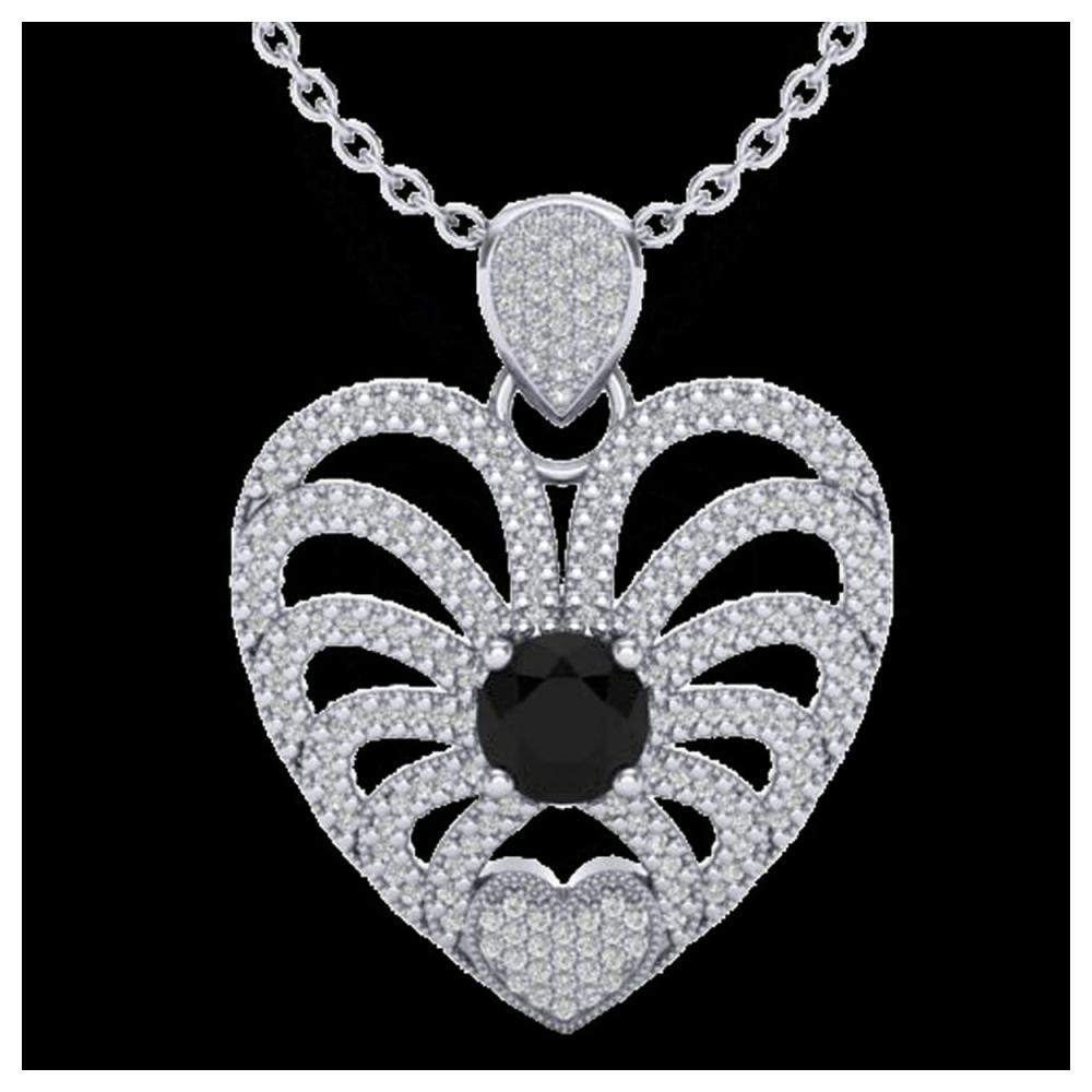 3.50 ctw Black & White Diamond Heart Necklace 14K White Gold - REF-173F6N - SKU:20499
